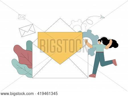 Email Marketing, Reaching Target Audience With Emails. Mail Envelope With Letter