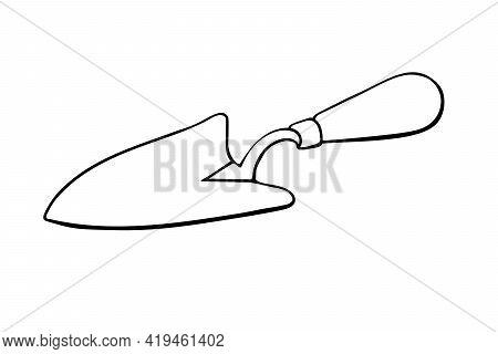 Vector Black Outline Of Garden Scoop. Shovel For Earthworks. Tool For Digging And Transplanting Plan