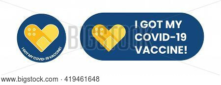 Vaccine Campaign Stickers With Medical Plaster. Vaccination Badges