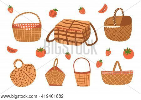 Picnic Baskets Vector Set Isolated Graphic Elements. Picnic Baskets Doodle Icon Collection. Outdoor