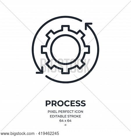 Cogwheel Icon And Settings Concept Editable Stroke Outline Icon Isolated On White Background Flat Ve