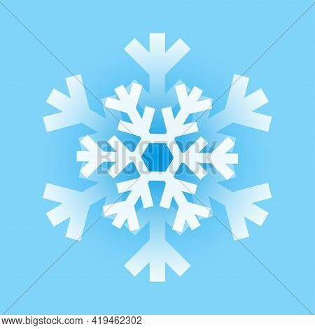 Snowflake Illustration. Beautiful Blue Snow-flake, Great Design For Any Purposes. Line Art Beautiful