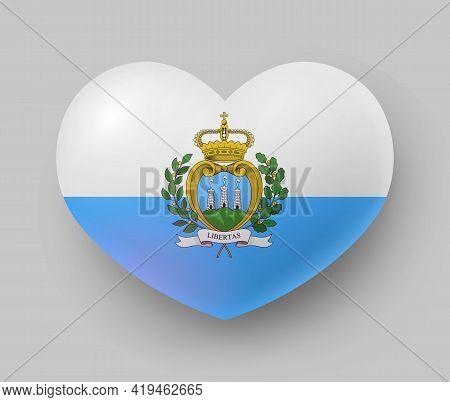 Heart Shaped Glossy National Flag Of San Marino. European Country National Flag Button, Symbol Of Sa