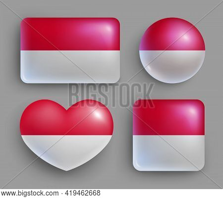 Glossy Buttons With Monaco Country Flags Set. European Country National Flag Shiny Badges Of Differe