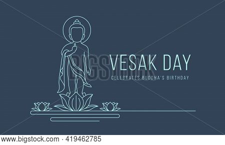 Vesak Day Banner With Abstract Modern Line Drawing Baby Buddha Stood On The Lotus Flower Vector Desi
