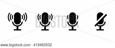 Volume Level Icon Set. Volume Set In Flat Style On White Background. Modern Sound Wave Equalizer. Ve