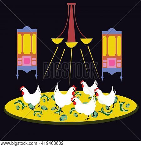 Illustration Of A Psychological Experiment Of Several Chicken  Under A Lamp, Given Certain Inputs, I