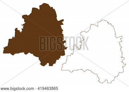 Peine District (federal Republic Of Germany, Rural District, State Of Lower Saxony) Map Vector Illus