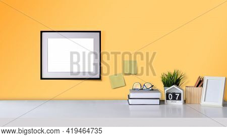 Mock Up Loft Home Decor With Picture Frame Workspace With Copy Space For Products Display Montage
