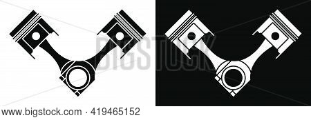 Crossed Car Engine Piston Icon White Background. Engine Operation, Oil Change, Car Service Inspectio
