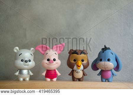 Samut Prakan , Thailand - May 5, 2021 : Cute Toy Of Winnie The Pooh Figures Mystery Box Blind Box Co