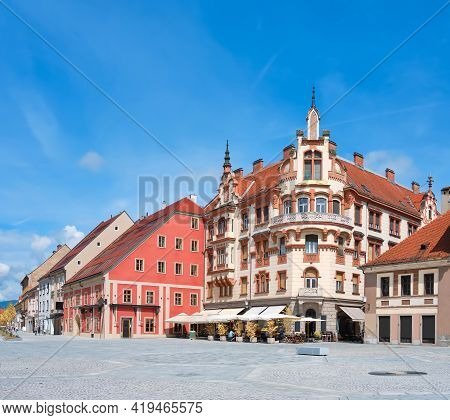 Maribor Main Square In Slovenia. Panoramic Image With Blue Sky. Panoramic Cityscape. Famous Tourist