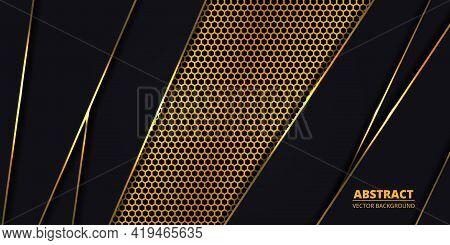 Luxury Dark Background With Golden Hexagon Carbon Fiber. Modern Background With Gold Luminous Lines.