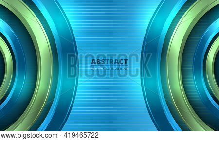 Abstract Colorful Bright Vector Background. Three-dimensional Blue And Green Circles On Striped Blue