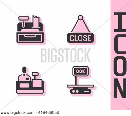 Set Electronic Scales, Cash Register Machine, Cashier At Cash And Hanging Sign With Closed Icon. Vec