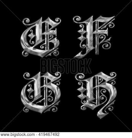 3D rendering of old Gothic metal capital letter alphabet - letters E-H