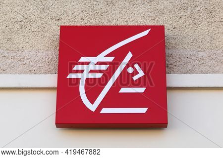 Montmerle, France - October 18, 2020: Caisse D'epargne Logo On A Wall. Caisse D'epargne Is A French