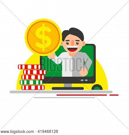 Online Casino Win, Money Prize. A Happy Man Hold A Gold Coin Dollar Winning Lottery Bill And Show Ge