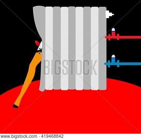 Illustration Of A Cabaret Dancer Coming Out Behind A Radiator  For A Hot Burlesque Show