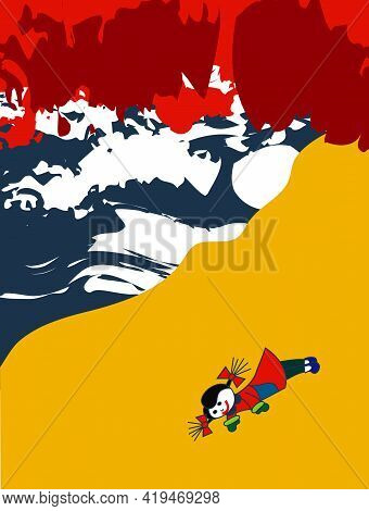 Illustration Of A Lost Doll On The Beach On A Stormy Night With Red Threatening Clouds