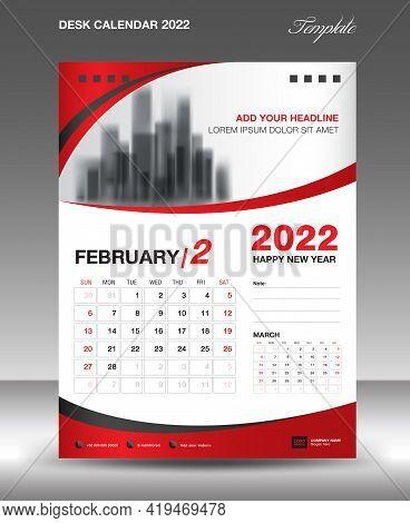 Desk Calendar 2022 Template, February Month Design, Wall Calendar Design, Calendar 2022 Template Mod