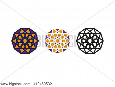Set Arabic Decorative Pattern. Islamic Symbol, Logo Design Templates. Arabic Style Emblems For Luxur