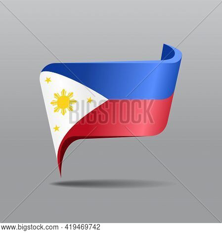 Philippines Flag Map Pointer Layout. Vector Illustration.
