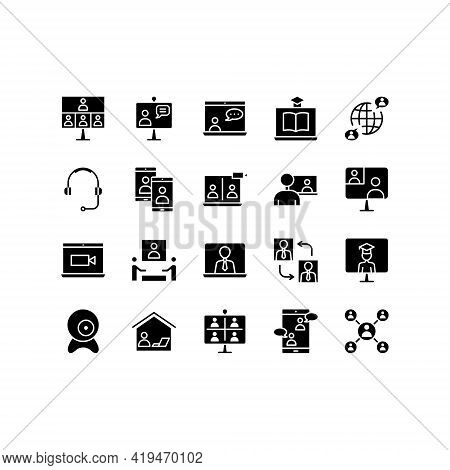 Video Call Flat Line Icons Set. Online Meeting Icons, Work Form Home, Social Distancing, Video Confe