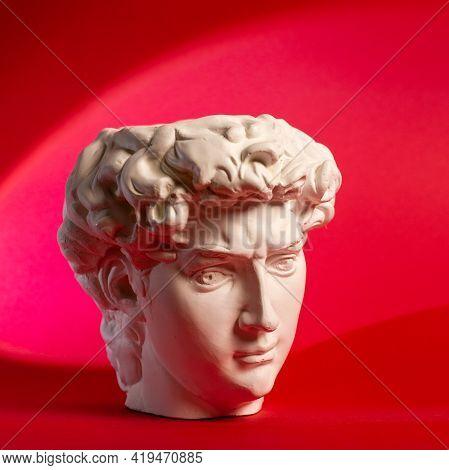 Gypsum Statue Of Davids Head. Michelangelos David Statue Plaster Copy.