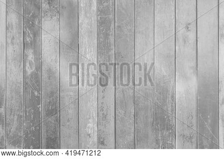 Concept Of Creating A Black And White Image For The Background. Black Vertical Plank. Old Wood Plank