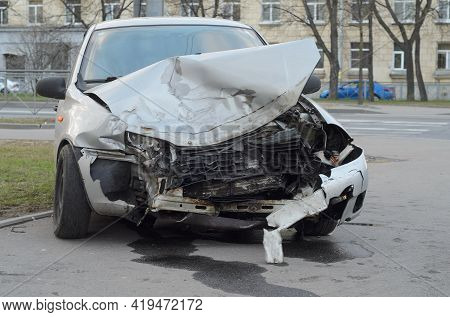 Car Destroyed After An Accident.car Accident Insurance.