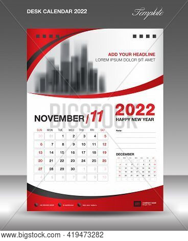Desk Calendar 2022 Template, November Month Design, Wall Calendar Design, Calendar 2022 Template Mod