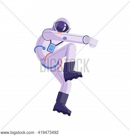 Cartoon Astronaut. Dancing Party Cosmonaut, Modern Disco Spaceman, Comic Space Dancer. Vector Comics