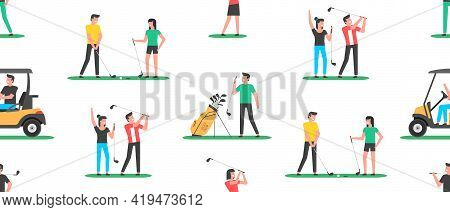 Seamless Pattern With Golf Players. Golfer Sports Equipment. Flat Style. Isolated On White Backgroun