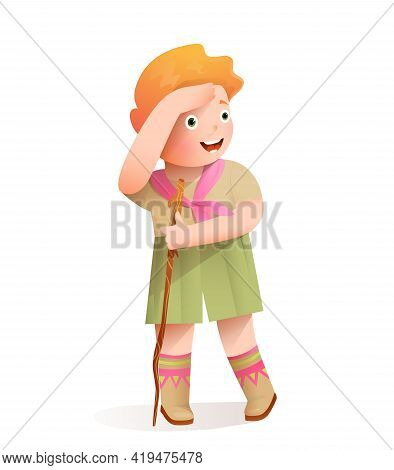 Cute Excited Girl Scout Looking Into The Distance, Wearing Hiking Or Camping Clothes With A Brunch T
