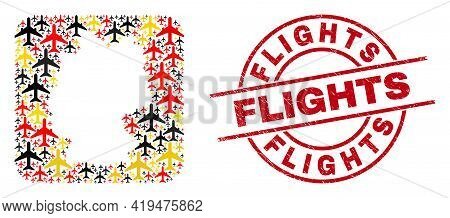 German State Map Collage In Germany Flag Official Colors - Red, Yellow, Black, And Unclean Flights R