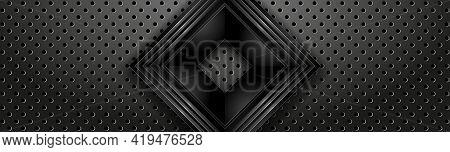 Black Industrial Banner With Square Frame. Dark Textured Header