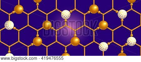 White And Gold 3d Spheres On The Hexagonal Grid.