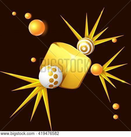 Simple Solid Geometries. Volumetric Objects Composition With Golden Cube, Color Spheres And Needle O