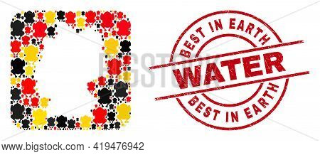 Germany Map Mosaic In German Flag Official Colors - Red, Yellow, Black, And Dirty Best In Earth Wate