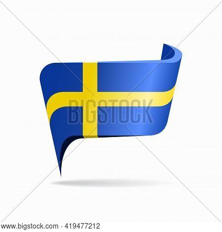 Swedish Flag Map Pointer Layout. Vector Illustration.