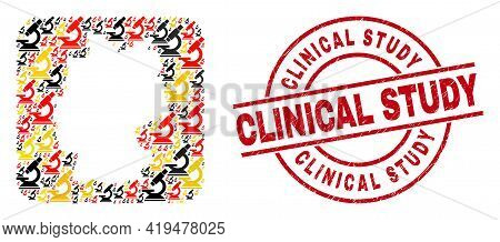 Germany Map Mosaic In German Flag Official Colors - Red, Yellow, Black, And Distress Clinical Study