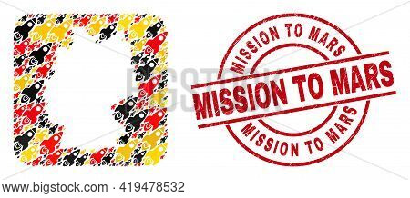 German Map Collage In German Flag Official Colors - Red, Yellow, Black, And Scratched Mission To Mar