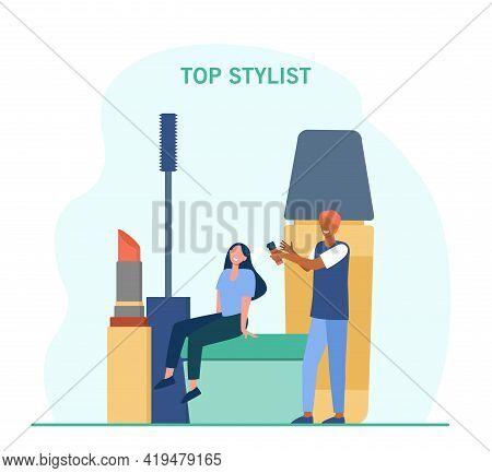 Smiling Woman In Beauty Salon. Tiny Cartoon Stylist Spraying Hair, Huge Lipstick, Mascara Flat Vecto