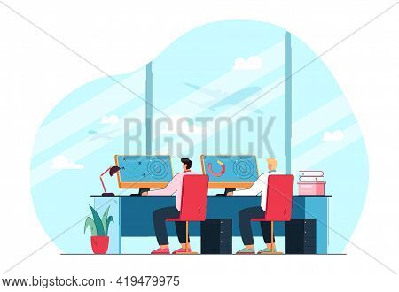 Air Traffic Control Officers In Front Of Monitors. Flat Vector Illustration. Two Cartoon Airline Ope