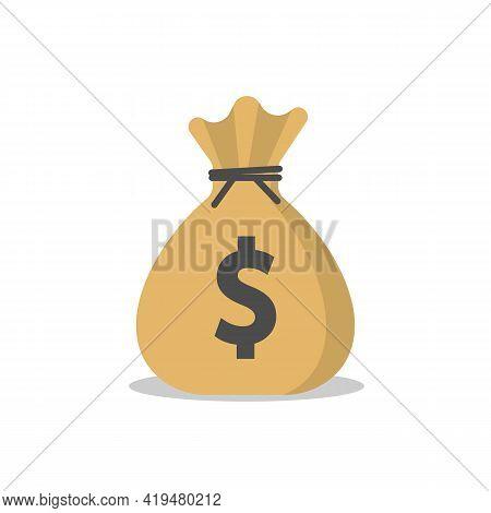Money Bag Icon Isolated On White Background. Vector Illustration.