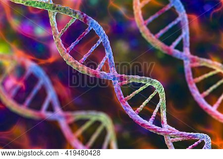 Molecule Of Dna, Double Helix, 3d Illustration. Genetic Mutation And Genetic Disorders