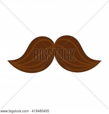 Isolated Mustache Icon. Brown Mustache Vector Illustration