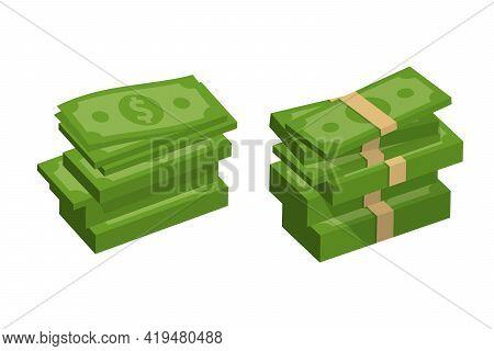 Packing Money Banknotes. Set Of Green Dollar In Various Bundles. Vector Illustration.