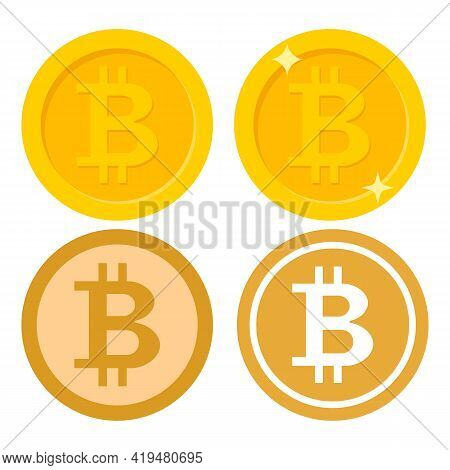 Set Of Bitcoin Icon. Crypto Currency, Virtual Electronic, Internet Money. Coin Logo. Vector Illustra